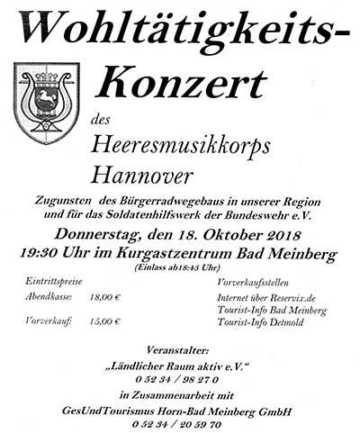 Programm Wohltätigkeitskonzert im Kurpark Bad Meinberg am 18. Oktober